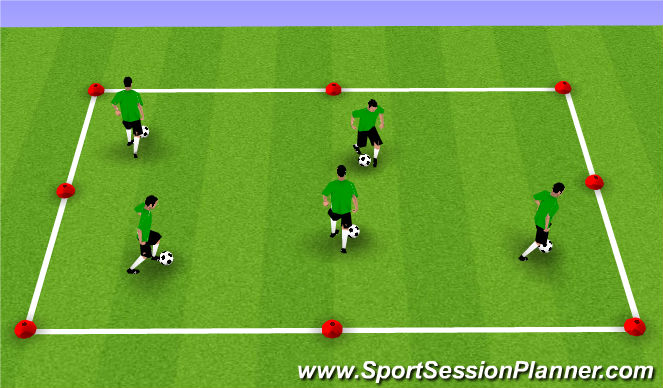 Football/Soccer Session Plan Drill (Colour): Dribbling Box