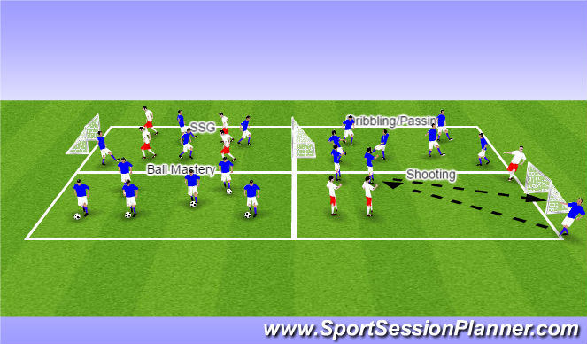 Football/Soccer Session Plan Drill (Colour): ODP Skills Station 6:00/8:00