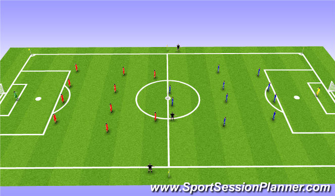Football/Soccer Session Plan Drill (Colour): 11 v11 Game