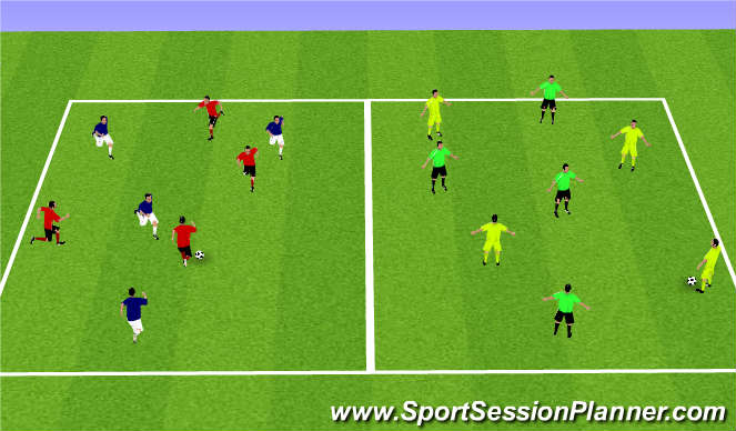 Football/Soccer Session Plan Drill (Colour): Pressing play 4v4