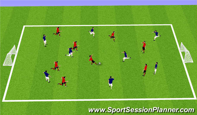 Football/Soccer Session Plan Drill (Colour): 'PRESS THE PLAY' 8V8
