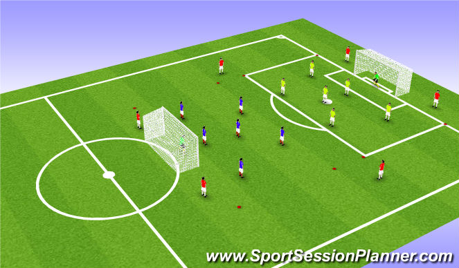 Football/Soccer Session Plan Drill (Colour): Jeu Banide 6c6 6 appuis