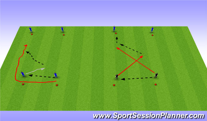 Football/Soccer Session Plan Drill (Colour): Combination plays