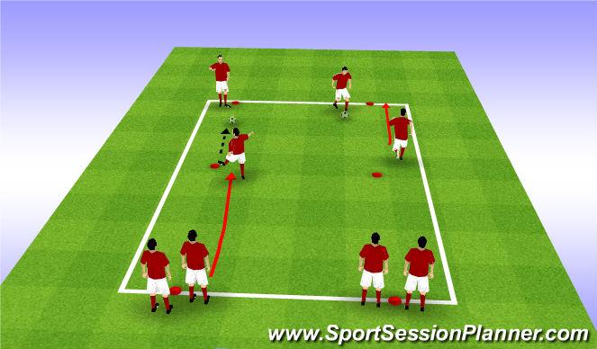Football/Soccer Session Plan Drill (Colour): Dynamic WU - lofted Balls
