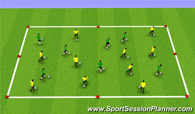 Football/Soccer Session Plan Drill (Colour): Activity 1: Dribbling Box