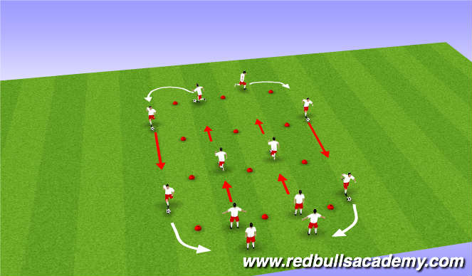 Football/Soccer Session Plan Drill (Colour): SAQ & Ball Mastery