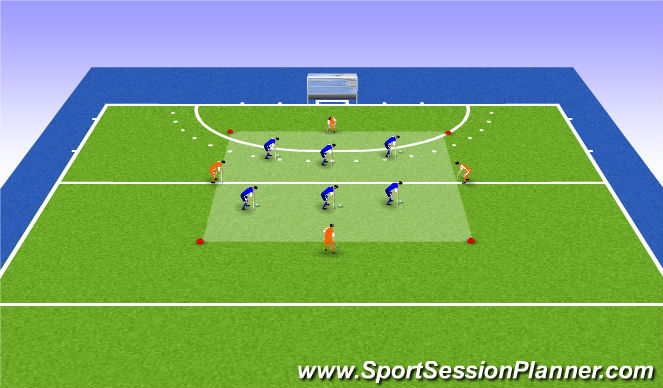 Hockey Session Plan Drill (Colour): Variation 1