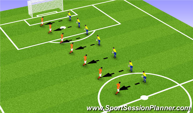 Football/Soccer Session Plan Drill (Colour): Pass-volley