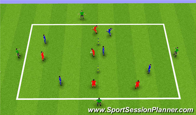 Football/Soccer Session Plan Drill (Colour): 5v5 single goal