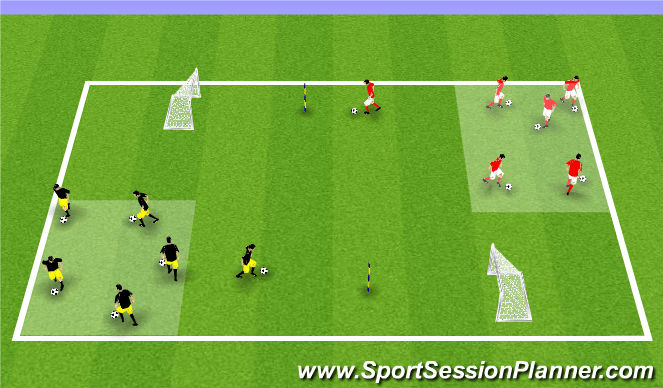 Football/Soccer Session Plan Drill (Colour): Game speed unopposed