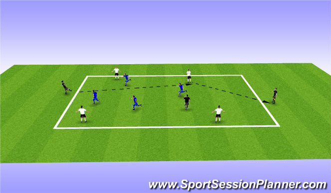 Football/Soccer Session Plan Drill (Colour): 7:4 Possession / Decission Passing