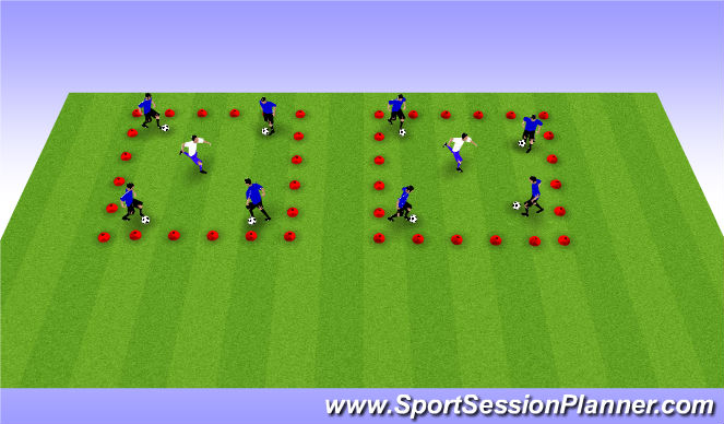 Football/Soccer Session Plan Drill (Colour): Two Square Defending Race