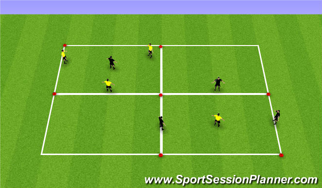 Football/Soccer Session Plan Drill (Colour): Rondo - 3v1 (10mins)
