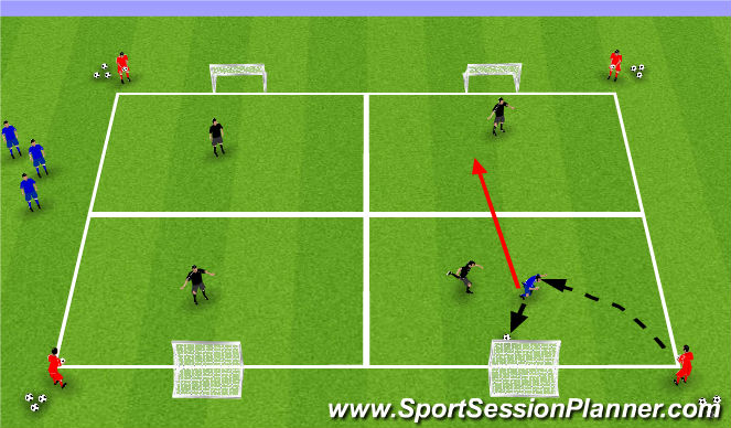 Football/Soccer Session Plan Drill (Colour): 1v1 with service