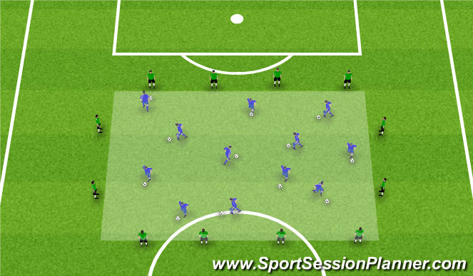 Football/Soccer Session Plan Drill (Colour): Warm-Up: Dribble Box