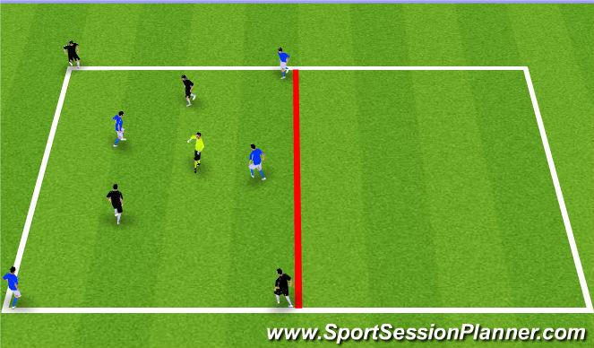 Football/Soccer Session Plan Drill (Colour): Diagonal Target Game + 3v3 Game