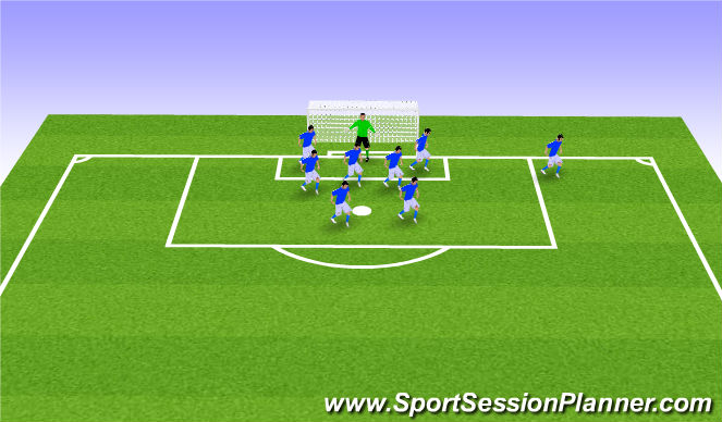 Football/Soccer Session Plan Drill (Colour): 9v9 Defensive Corners