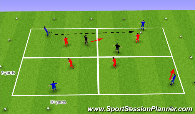 Football/Soccer Session Plan Drill (Colour): Possession in tight area