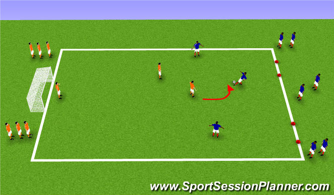 Football/Soccer Session Plan Drill (Colour): 3v2 Pressure Cover