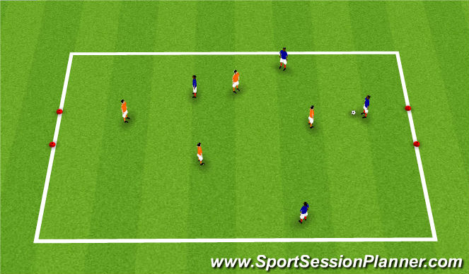 Football/Soccer Session Plan Drill (Colour): 4v4 Small Sided to gates
