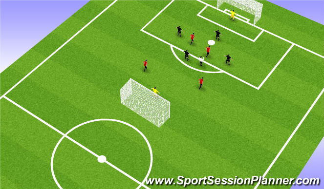 Football/Soccer Session Plan Drill (Colour): 4 v 4 +1