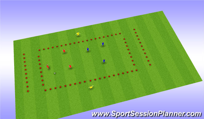 Football/Soccer Session Plan Drill (Colour): 3 v 3 +2 Zonal Passing Game