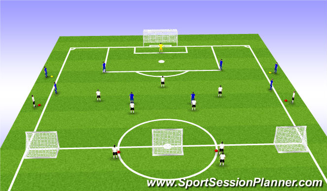 Football/Soccer Session Plan Drill (Colour): 5 v 6+1