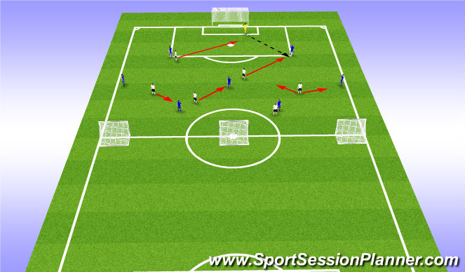 Football/Soccer Session Plan Drill (Colour): 6 v 7+1