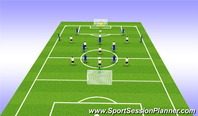 Football/Soccer Session Plan Drill (Colour): 10 v 10