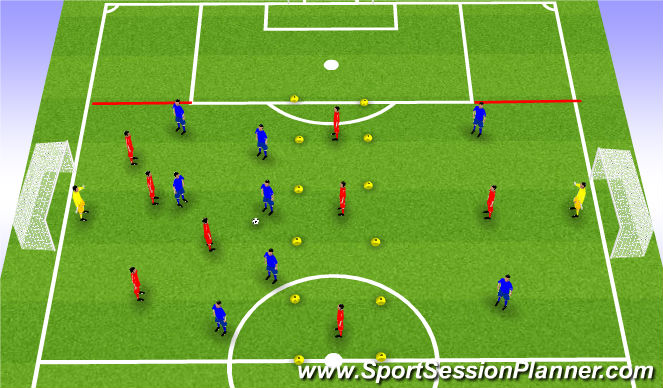 Football/Soccer Session Plan Drill (Colour): Transiition 6v4 to Goal