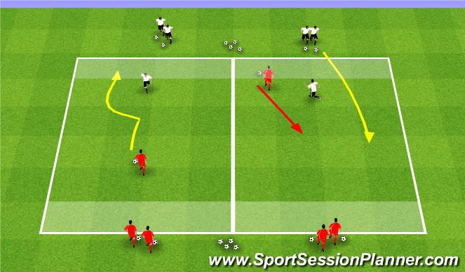 Football/Soccer Session Plan Drill (Colour): 1v1 Flying Change
