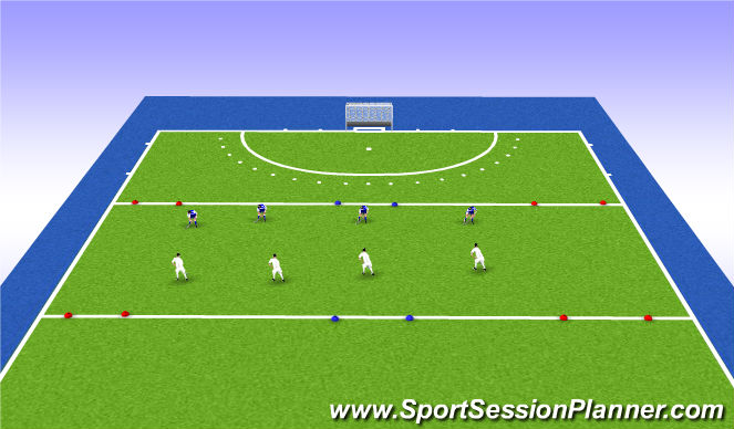 Hockey Session Plan Drill (Colour): 3 Goal Game