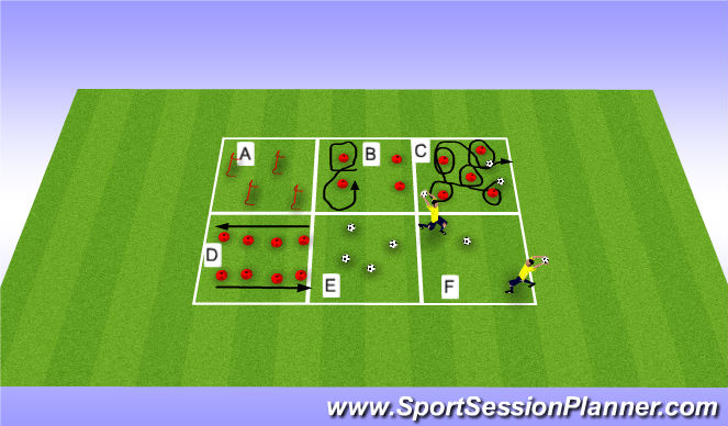 Football/Soccer Session Plan Drill (Colour): Warm-up and agility