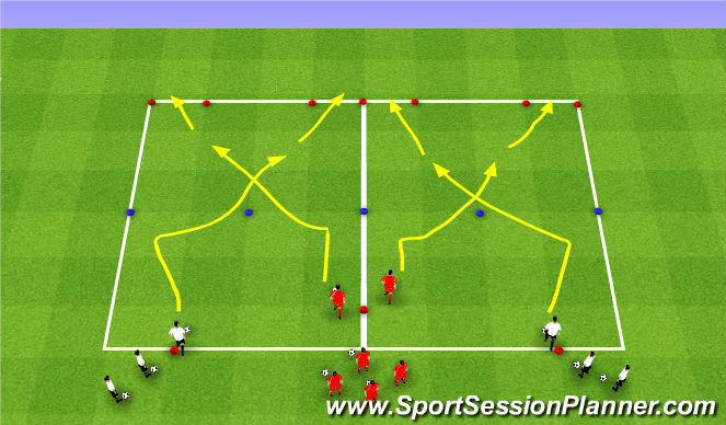 Football/Soccer Session Plan Drill (Colour): Technical Isolation