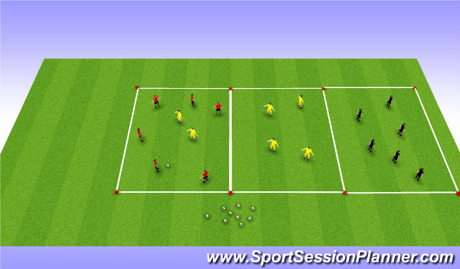 Football/Soccer Session Plan Drill (Colour): Over the river - Box Rondo