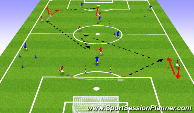 Football/Soccer Session Plan Drill (Colour): Passing Extensive
