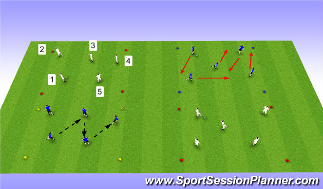 Football/Soccer Session Plan Drill (Colour): Numbers Passing
