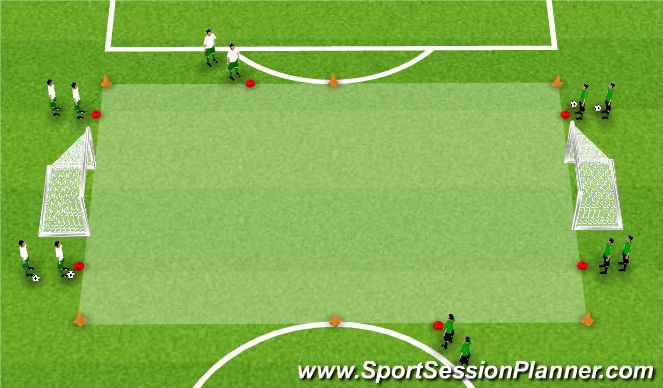 Football/Soccer Session Plan Drill (Colour): Activity 2: 3v3 Flying Changes