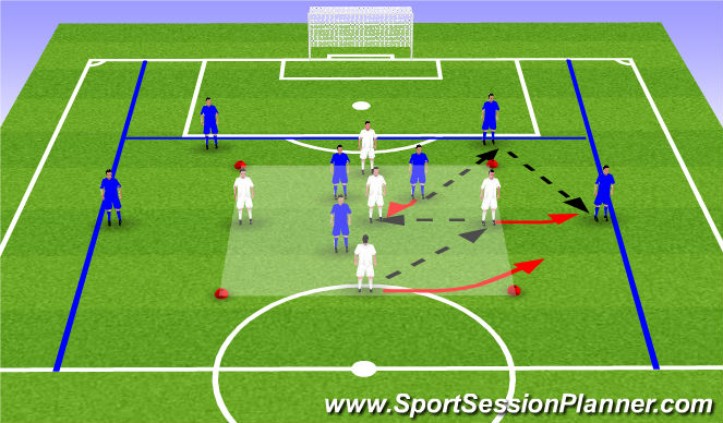 Football/Soccer Session Plan Drill (Colour): 5v3-->7v5