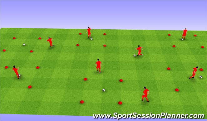 Football/Soccer Session Plan Drill (Colour): Turning - dribbling and turns