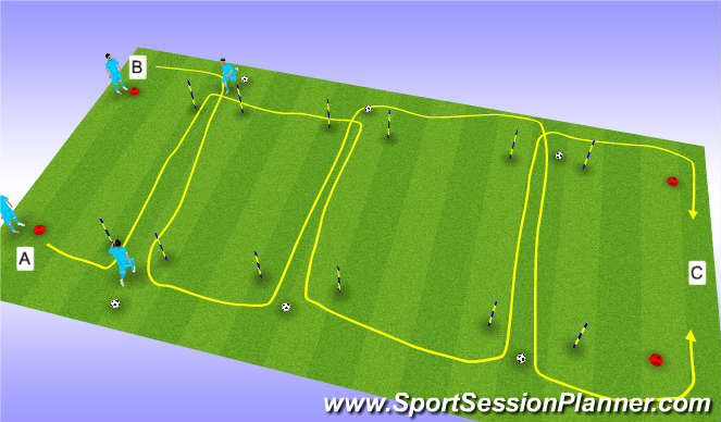 Football/Soccer Session Plan Drill (Colour): Fitness Warm up