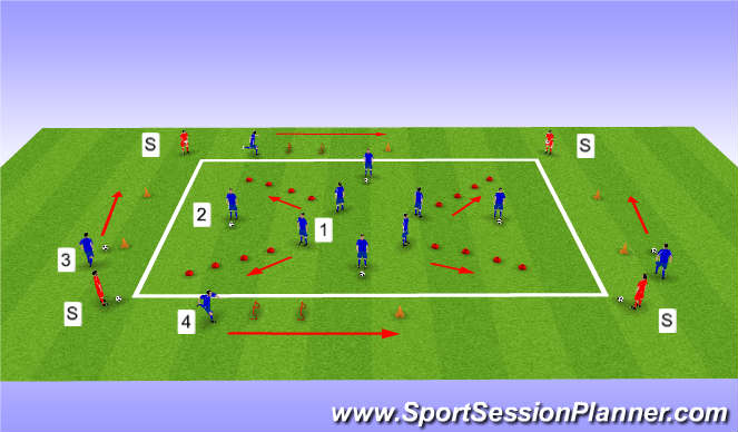Football/Soccer Session Plan Drill (Colour): warm up drill