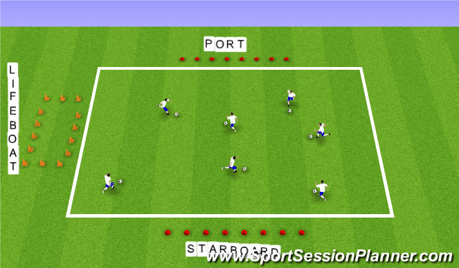 Football/Soccer Session Plan Drill (Colour): Pirateship