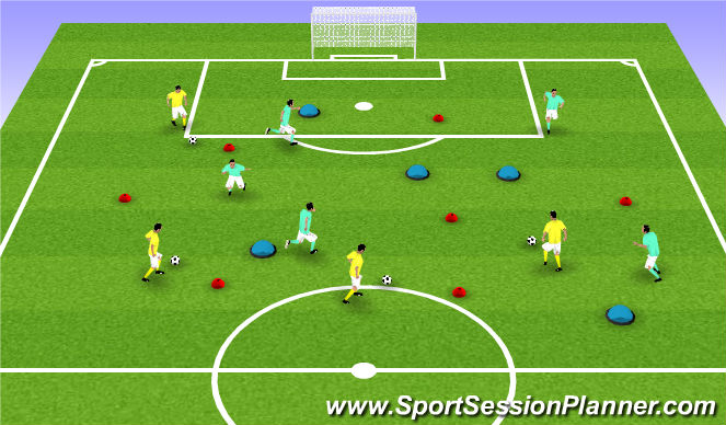 Football/Soccer Session Plan Drill (Colour): U8 - Pacman