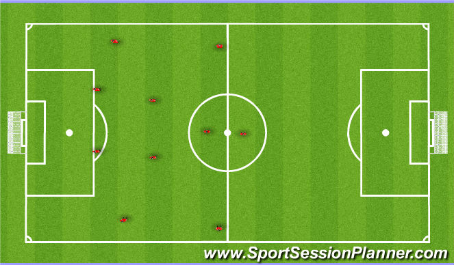 Football/Soccer Session Plan Drill (Colour): 11v11 scrimmag vs 16s