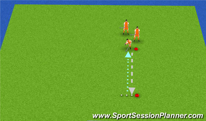 Hockey Session Plan Drill (Colour): Estafette race