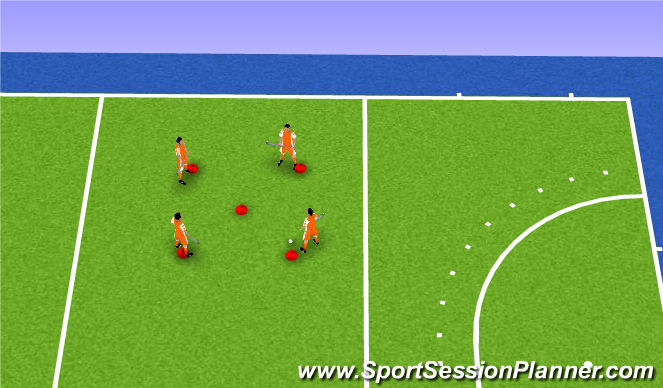 Hockey Session Plan Drill (Colour): Dobbelsteen 5