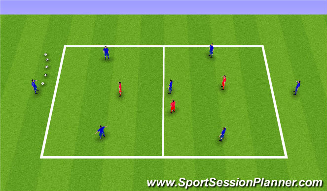 Football/Soccer Session Plan Drill (Colour): Receiving to play forwards - 5v3