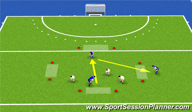 Hockey Session Plan Drill (Colour): Variant op balbezit met 4 doeltjes