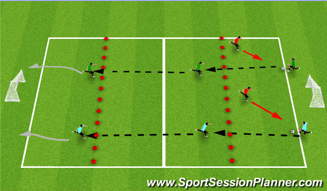 Football/Soccer Session Plan Drill (Colour): Bullrush Relay